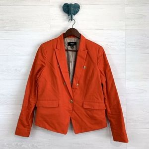 MNG Mango Linen Blend Orange Single Button Blazer